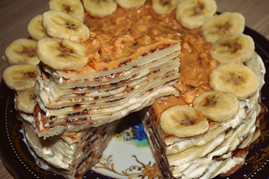 Блинный торт с бананом
